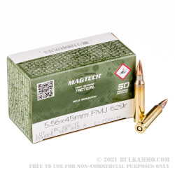 1000 Rounds of 5.56x45 Ammo by Magtech - 62gr FMJ
