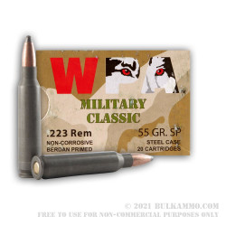 20 Rounds of .223 Ammo by Wolf WPA - 55gr SP