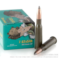 20 Rounds of 7.62x54r Ammo by Brown Bear - 203gr SP