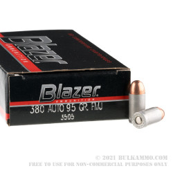 50 Rounds of .380 ACP Ammo by CCI - 95gr FMJ