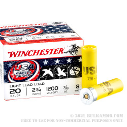 25 Rounds of 20ga Ammo by Winchester USA Game & Target - 7/8 ounce #8 shot
