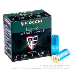 """250 Rounds of 12ga 2-3/4"""" Ammo by Fiocchi - 1 ounce #8 Shot"""