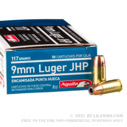 1000 Rounds of 9mm Ammo by Aguila - 117gr JHP