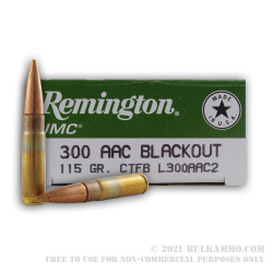 20 Rounds of .300 AAC Blackout Ammo by Remington - 115gr CTFB