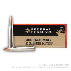 20 Rounds of .300 H&H Mag Ammo by Federal - 180gr Nosler Partition