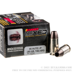 20 Rounds of .45 ACP Ammo by Barnes TAC-XPD - +P 185gr SCHP