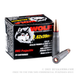 1000 Rounds of 7.62x39mm Ammo by Wolf Performance - 124gr HP 8M3