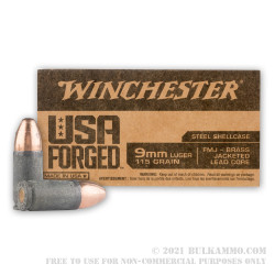 1000 Rounds of 9mm Ammo by Winchester USA Forged - 115gr FMJ