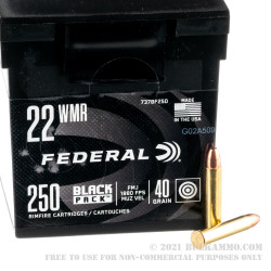 250 Rounds of .22 WMR Ammo by Federal Black Pack - 40gr FMJ