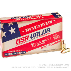 1000 Rounds of 9mm NATO Ammo by Winchester USA VALOR - 124gr FMJ