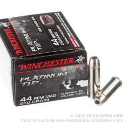 20 Rounds of .44 Mag Ammo by Winchester Platinum Tip - 250gr JHP