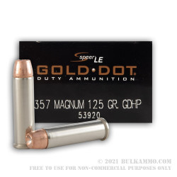 1000 Rounds of .357 Mag Ammo by Speer Gold Dot - 125gr JHP