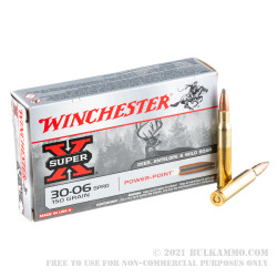 200 Rounds of 30-06 Springfield Ammo by Winchester Super-X - 150gr PP