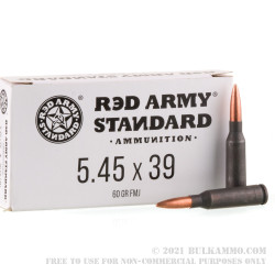 1000 Rounds of 5.45x39 Ammo by Red Army Standard - 60gr FMJ