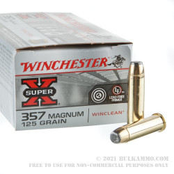 50 Rounds of .357 Mag Ammo by Winchester WinClean - 125gr JSP