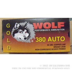 380 Auto 94 gr JHP Wolf Gold Ammo For Sale!