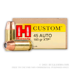 200 Rounds of .45 ACP Ammo by Hornady - 185gr JHP
