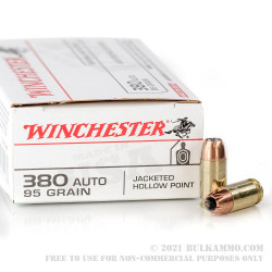 500 Rounds of .380 ACP Ammo by Winchester USA - 95gr JHP