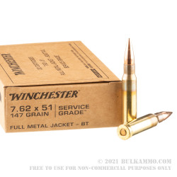 200 Rounds Of Bulk 7 62x51mm Ammo By Winchester 147gr Fmjbt