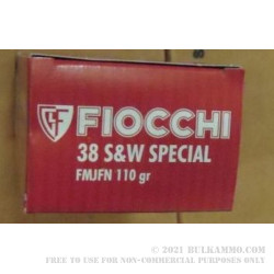 38 Special 110 gr +P FMJFN Fiocchi Ammo For Sale!