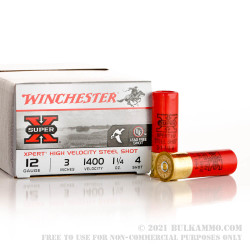 25 Rounds of 12ga Ammo by Winchester Super-X - 1-1/4 ounce #4 steel shot