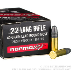 50 Rounds of .22 LR Ammo by Norma - 40gr LRN