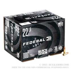 1100 Rounds of .22 LR Ammo by Federal Black Pack - 38gr CPHP