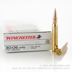 20 Rounds of 30-06 Springfield Ammo by Winchester - 147gr FMJ