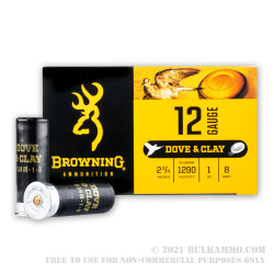 250 Rounds of 12ga Ammo by Browning Dove & Clay - 1 ounce #8 shot