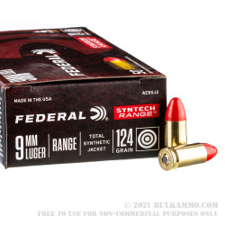 500 Rounds of 9mm Ammo by Federal Syntech Range - 124gr Total Synthetic Jacket