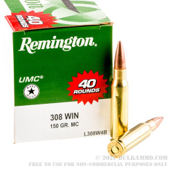400 Rounds of .308 Win Ammo by Remington - 150gr MC
