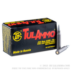 1000 Rounds of .223 Ammo by Tula - 62gr FMJ **POSSIBLE RUST SPOTS**