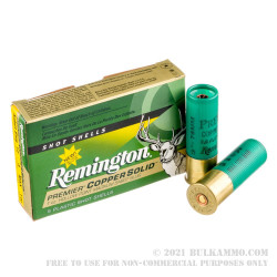 100 Rounds of 12ga Ammo by Remington Premier Copper Solid - 1 ounce HP magnum sabot slug