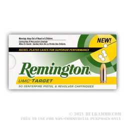 500  Rounds of .40 S&W Ammo by Remington Nickel Plated - 180gr MC