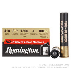 """15 Rounds of .410 2-1/2"""" Ammo by Remington Ultimate Home Defense -  00 Buck"""