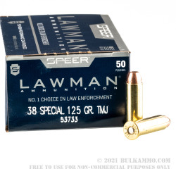 50 Rounds of .38 Spl Ammo by Speer Lawman - 125gr TMJ