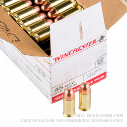 100 Rounds of .45 ACP Ammo by Winchester - 230gr FMJ