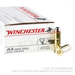 50 Rounds of .44 Mag Ammo by Winchester - 240gr JSP