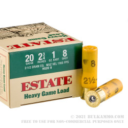 """250 Rounds of 20ga 2-3/4"""" Ammo by Estate Cartridge Heavy Game Load - 1 ounce #8 shot"""