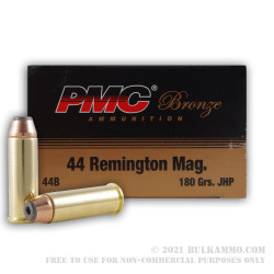 50 Rounds of .44 Mag Ammo by PMC - 180gr JHP