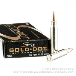 500 Rounds of .223 Rem Ammo by Speer Gold Dot - 75gr SP