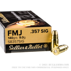 1000 Rounds of .357 SIG Ammo by Sellier & Bellot - 140gr FMJ