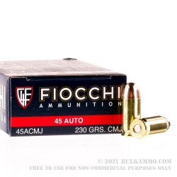 50 Rounds of .45 ACP Ammo by Fiocchi Shooting Dynamics - 230gr CMJ