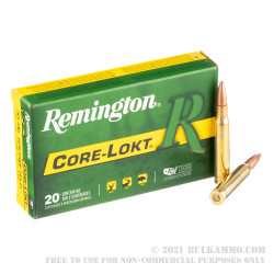 20 Rounds of 30-06 Springfield Ammo by Remington Core-Lokt - 165gr PSP