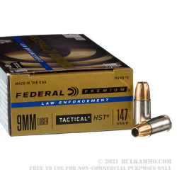 50 Rounds of 9mm LE Ammo by Federal - 147gr HST JHP