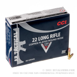 300 Rounds of .22 LR Ammo by CCI AR-Tactical - 40gr CPRN
