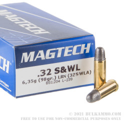 50 Rounds of .32S&W Long Ammo by Magtech  - 98gr LRN