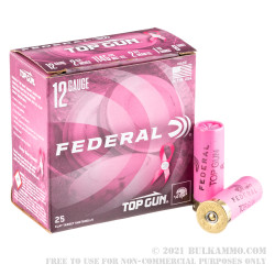 25 Rounds of 12ga Pink Hull Ammo by Federal - 1 1/8 ounce #8 shot