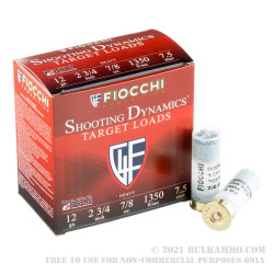 25 Rounds of 12ga Ammo by Fiocchi - 7/8 ounce #7.5 shot