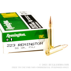 500 Rounds of .223 Ammo by Remington UMC - 55gr FMJ